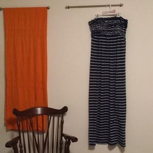 Blue and white ruched maxi dress XL